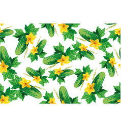 cucumber seamless pattern on white vector image