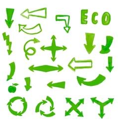 Handpaint watercolor green arrow vector image