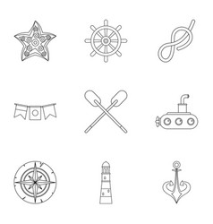 naval icons set outline style vector image