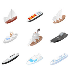 sea ship icon set isometric style vector image