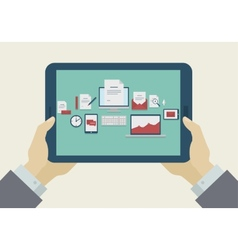 Flat Design Mobile tablet icons on display vector image