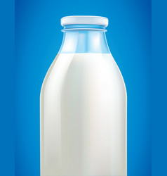 fresh milk in glass bottle on blue background vector image vector image