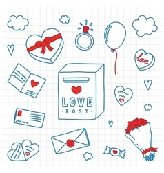 Hand drawn Valentines Day isolated objects vector image