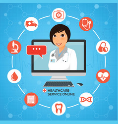 healthcare service online medical consultation vector image