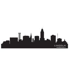 Lincoln Nebraska skyline Detailed silhouette vector image vector image