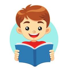 Little Boy Reading A Blue Book vector image