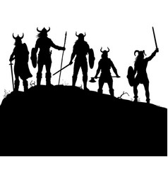 Viking raiders silhouette vector