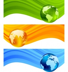 banners with globe vector image vector image