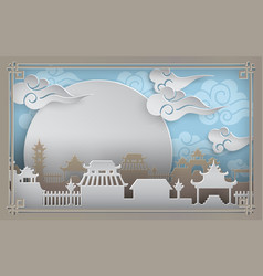 china town village on blue background with sky vector image