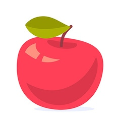 colorful of big red apple with green leaf is vector image vector image