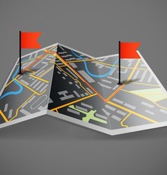 Folded abstract dark city map with flags vector image