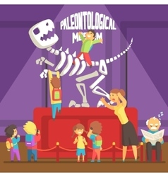 Group Of Kids Making A Mess In Paleontology Museum vector image