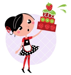 retro kitchen girl vector image vector image