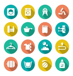 Set flat icons of laundry vector image vector image