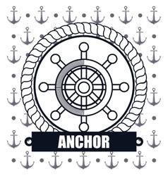 ship wheel steer icon anchor design vector image vector image