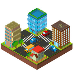 3d design for city with buildings and traffic vector image