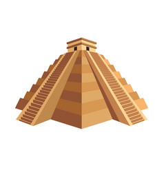 ancient maya pyramid with temple on top and long vector image