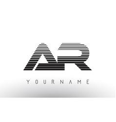 Ar black and white horizontal stripes letter logo vector
