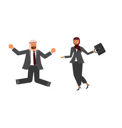 arabic business man and business woman characters vector image