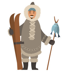 arctic hunter with skis and fish on stick vector image