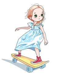 Baby girl skateboarder vector