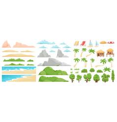 beach landscape elements nature beach clouds vector image