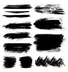 black hand painted brush strokes vector image
