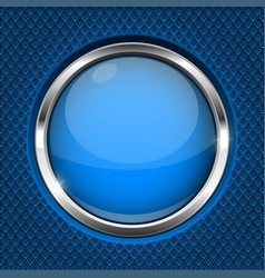 blue button with chrome frame round glass shiny vector image