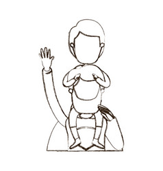 blurred thin contour caricature faceless half body vector image