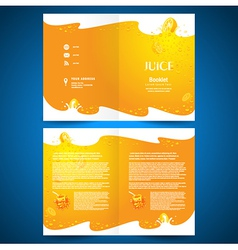 brochure folder juice fruit drops liquid orange vector image
