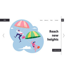 Business people skydivers website landing page vector