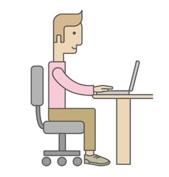 Businessman Working on Computer vector image
