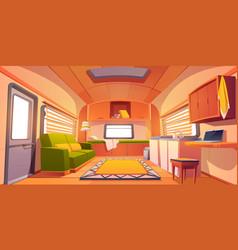Camping trailer car interior rv motor home room vector