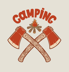 Camping two crossed hatchets and tourist vector