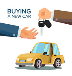 Car sharing rent dealer giving keys chain vector