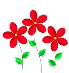 Cartoon Red Flowers on White Background vector image