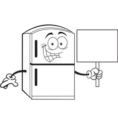 Cartoon Refrigerator Holding a Sign vector image