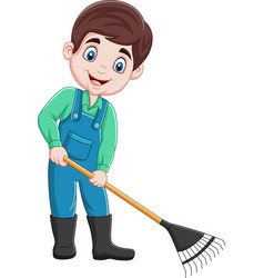 Cartoon young farmer working with a rake vector