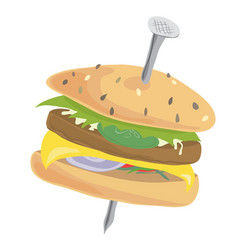 cheeseburger with high iron content vector image