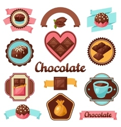 Chocolate set badges and labels with various vector