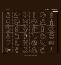 Collection of 36 halloween icons in thin line vector