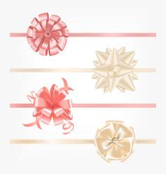 collection of pink and beige satin ribbons vector image