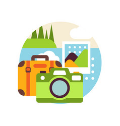 creative landscape with suitcase and camera in vector image
