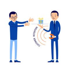 Customer retention manager keeps customer vector