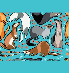Cute cartoon ferrets seamless pattern vector