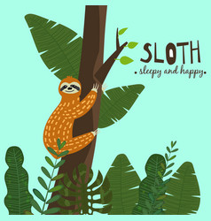 cute funny sloth hanging on the tree sleepy and vector image