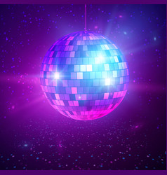 Disco or mirror ball with bright rays music and vector