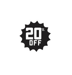 Discount 20 off label template design vector