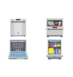 Dishwasher icons set flat style vector
