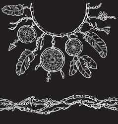 dream catcher boho style design for collar t vector image